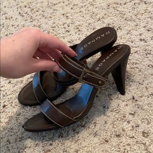 Rampage Gia brown heels sandals 7